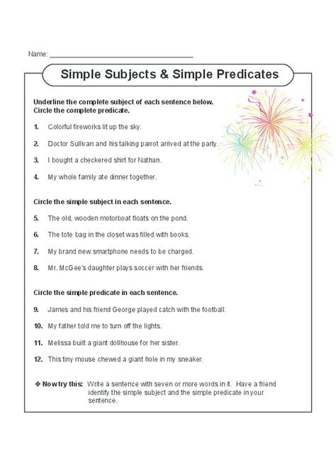 This printable worksheet gets students focusing on both simple and complete subjects and predicates. Read the sentences with your child, and have them complete the exercises. Also includes a writing activity at the end which can be done with a partner or parent. Read more at http://kidspressmagazine.com/subject-and-predicate/worksheets/misc/simple-subjects-and-predicates.html#BB6V5D3uo7m6oJhE.99 #grammar, #english, #worksheet, #subject, #predicate