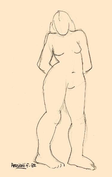 """Saatchi Art Artist Françoise Zia; Drawing, """"Standing nude 30"""" #art"""