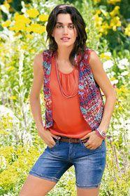 dámská letní ručně pletená vesta z příze Veneta Color