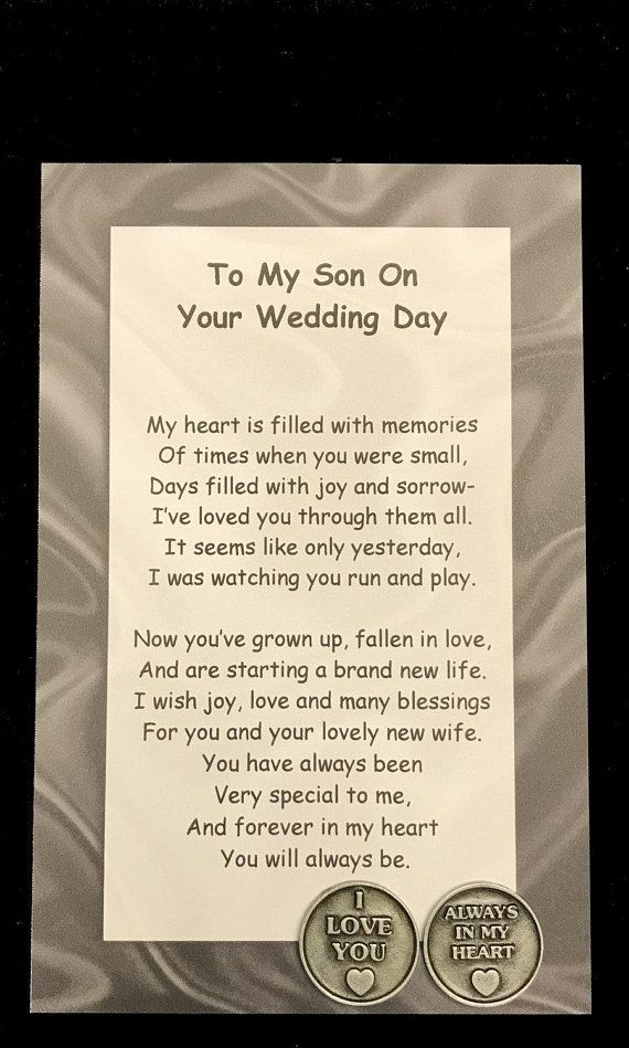 My Our Son On Your Wedding Day Poem Pocket Token Gift Set Pocket Token Wedding Poems Wedding Day Quotes