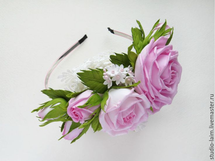 Купить Ободок с розами из фоамирана Рассвет - обруч для волос, обруч с цветами, обруч на голову