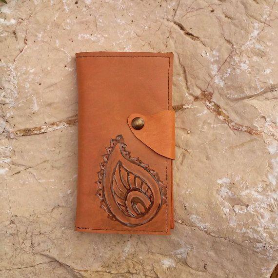 Leather phone case, mehndi inspired smart phone case, India inspired genuine leather phone case, card holder, handmade iPhone 6 case