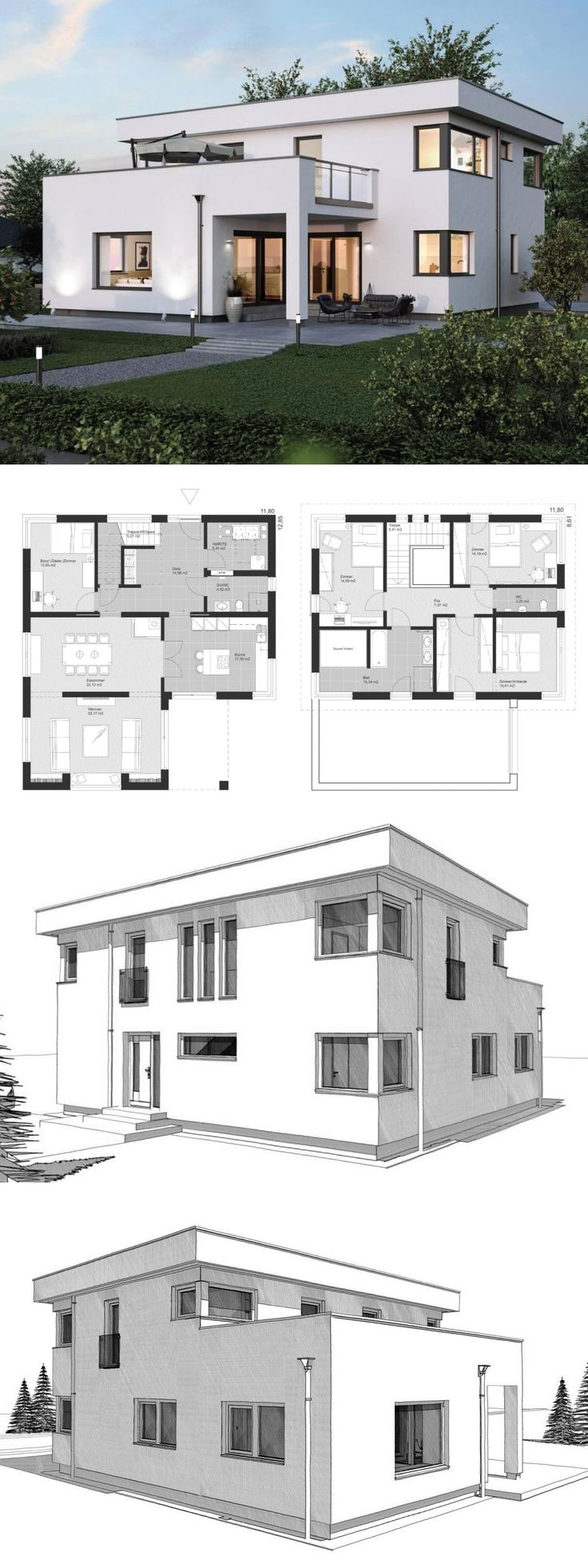 Bauhaus Stadtvilla Grundriss modern mit Flachdach …