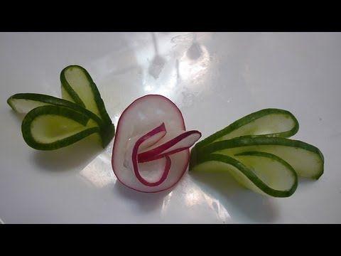 ▶ Украшения из овощей (делаем из огурца и редиса завиток и цветок). Decoration of vegetables - YouTube