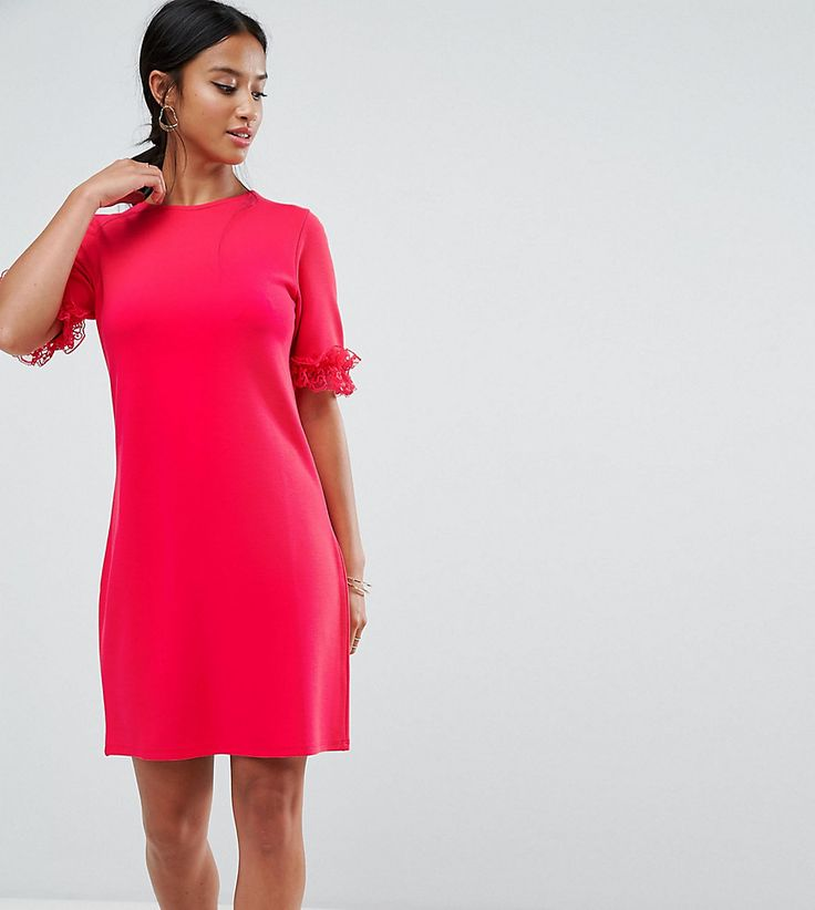 ASOS PETITE T-Shirt Dress In Ponte With Lace Frill Sleeve - Pink
