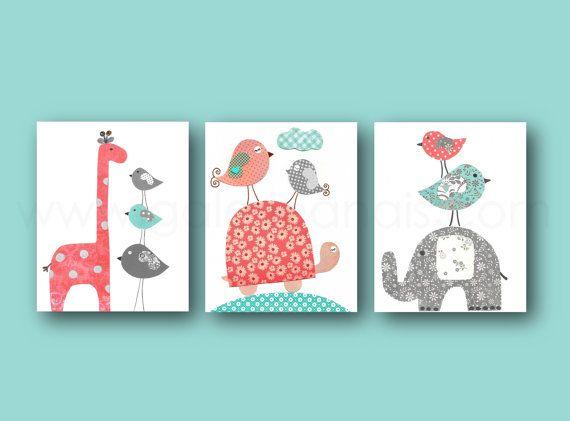 Baby Girl Nursery Decor kids wall art Elephant nursery Giraffe nursery Coral turquoise nursery wall art Turtle birds - Set of three prints