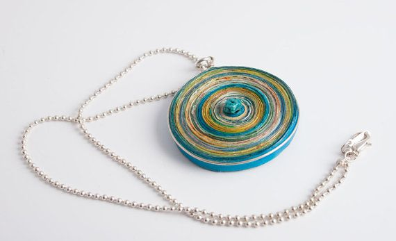 Recycled paper pendant with little turquoise
