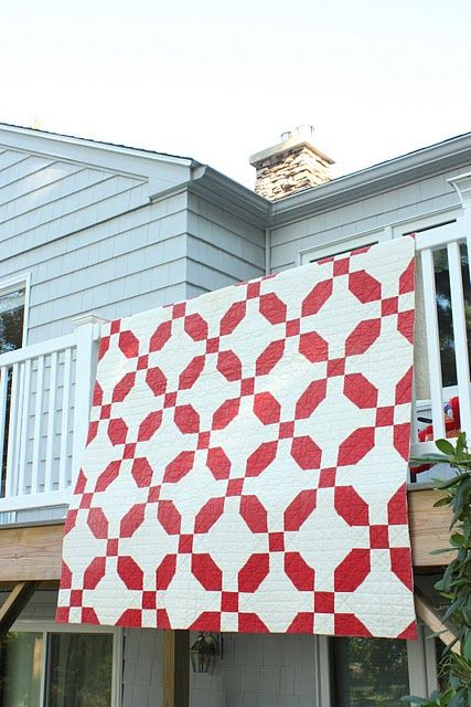 My next project- a red and white quilt.  I'm in love with this antique pattern