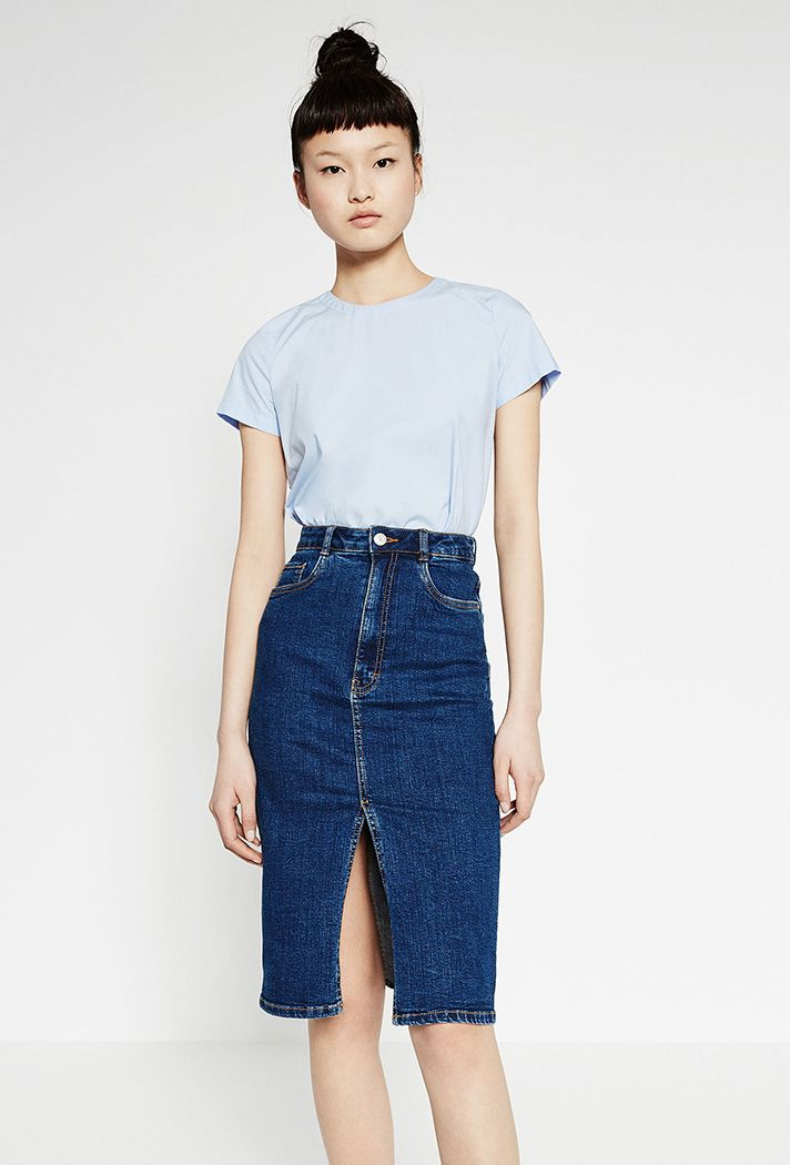 Check out these chicdenim skirt outfit ideas and products at @stylecaster | Denim Midi Skirt, $29.90; at Zara