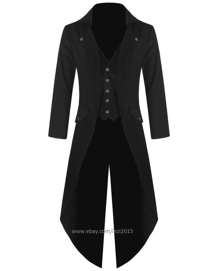 Banned Mens Steampunk Tailcoat Jacket Black Gothic Victorian Coat