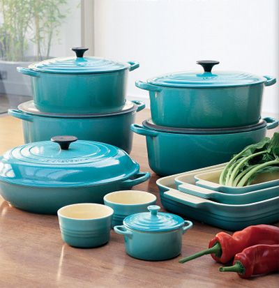 Le Creuset. Pieces range in price from $50-$500.00 (11 piece set not shown averages $1100 )