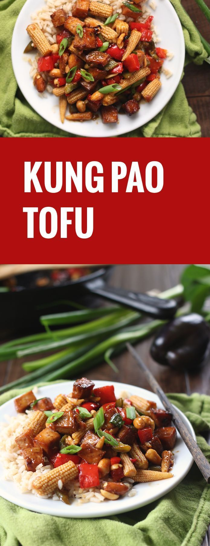 This vegan kung pao tofu is made with caramelized baked tofu bits in a spicy sauce with peanuts and stir-fried veggies.