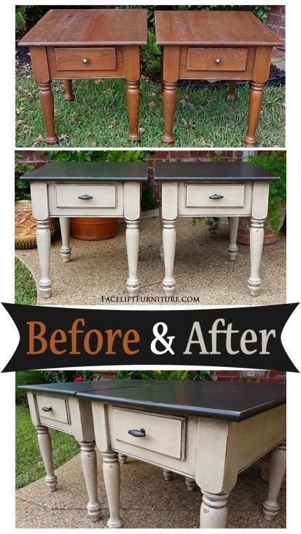 Matching end tables in distressed Black & Oatmeal - Before and After from Facelift Furniture #blackmodernfurniture
