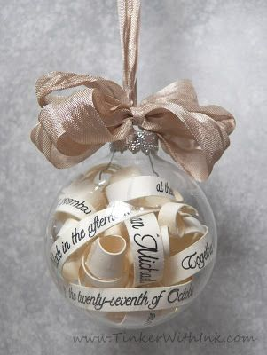 wedding ornament  Tinker With Ink & Paper: Ornaments   DONE:  did one for Kaitlyn & Brad with their invitation in it.