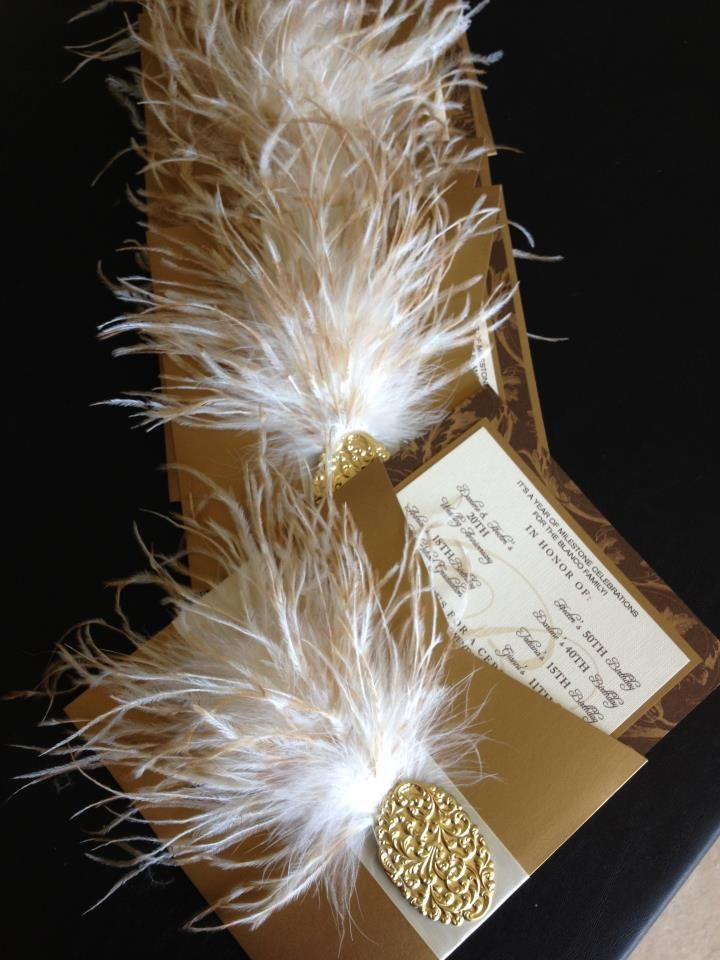 Beautiful! WE LOVE THIS Custom Made Invitation by Event DesignerEricka Lopez ; Embellished with a Limited Edition Vanilla/Honey Stenciled Ostrich Boa from The Feather Place, This Invitation is sure to Tickle Your Guest's Fancy!