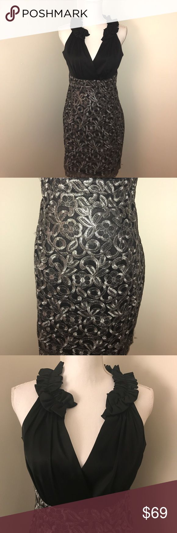"Donna Ricco Black V-Neck Holiday Dress Measures approximately 16.5"" at bust and 36"" in length. Dress does have a little tear at the seam that is pictured. Worn one time for a NYE event. Donna Ricco Dresses"