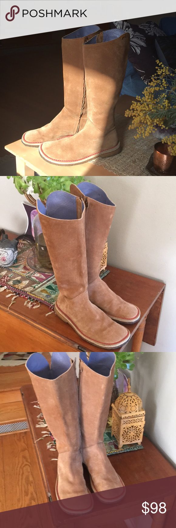Camper Tall Suede Boots Tan/Camel Size 38/8US Camper Boots Tan/Camel Suede Size 38/8US Knee high zipper boots with lavender lining and gum soles. In great shape gently used. Camper Shoes