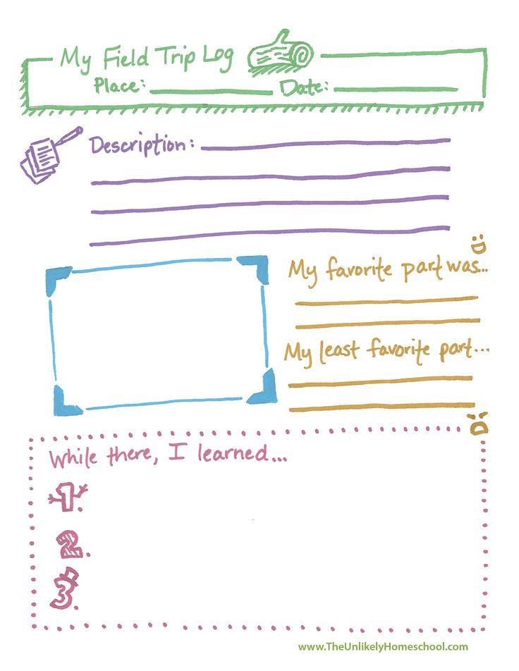 The Unlikely Homeschool: Free Field Trip Log (notebook page) Printable