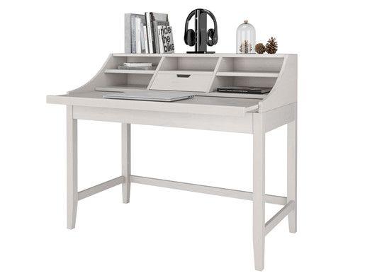 Der Schreibtisch Ist Ausgestattet Mit Funf Offenen Fächern Und Einer  Schublade, Sowie Einer Ausziehschreibplatte Bis ...