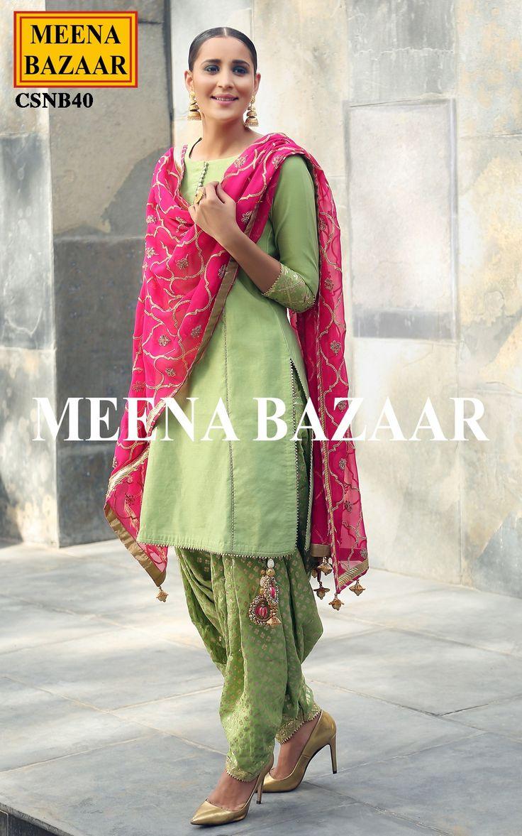 Green Chanderi Salwar suit - Salwar Kameez