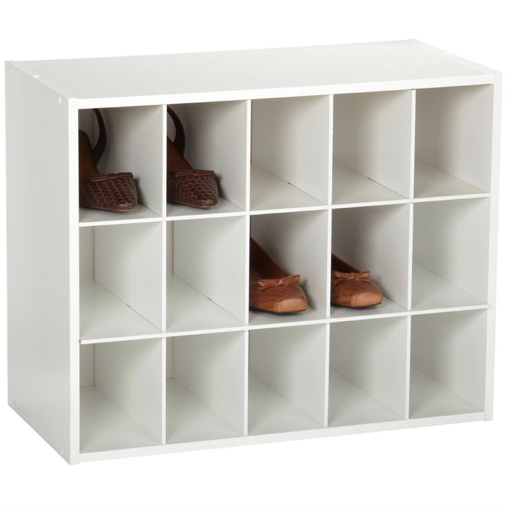 15-Cubby Stackable Shoe Rack Organizer Shelves in White Wood Finish
