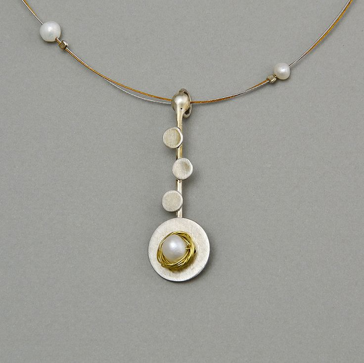 Adjustable purple necklace with silver spiral mat pendant, hanging brass wire, white fresh water pearls and amethyst by NataliaNorenasilver on Etsy