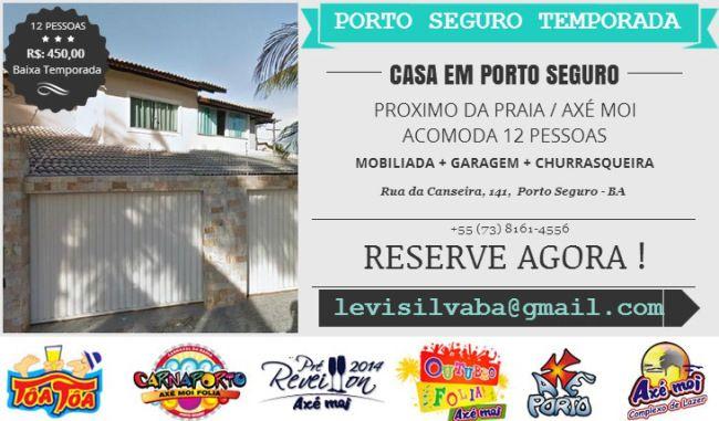 Casa Próximo da Praia em Porto Seguro Alternativa a Hotéis Porto Seguro Pousadas Hospedagem  de Temporada na Praia de Taperapuan  Porto Seguro, há 300 mts da Praia e 800 mts da Axé Moi  Reservas / Informações e Visitas: levisilvaba@gmail.com  - (73) 8161-4556  http://portoseguroalugueltemporada.wordpress.com/ https://www.facebook.com/casaemportoseguroalugueltemporada  http://youtu.be/s9n46tBMvP0