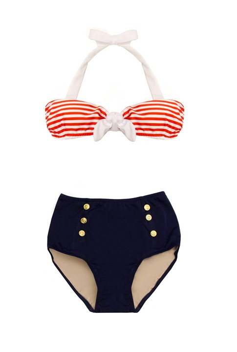 Ahoy there! A high cut brief and striped top that shows off the shoulders will fabulously flatter the Pear's frame.