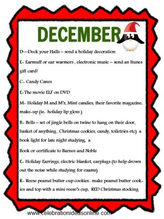 College care package ideas by month.. free download with ingredients for every month! the kids will love it!
