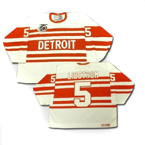 Detroit Red Wings Nicklas Lidstrom 5 White Authentic NHL Jersey Sale