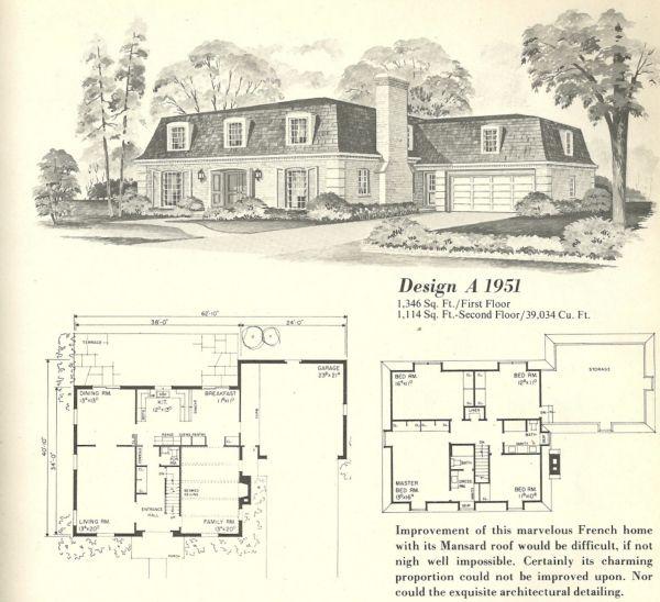 Vintage House Plans 1970s French Mansards Vintage House Plans Vintage House House Plans