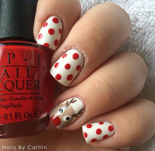 #christmas #polkadot #red #reindeer #nails #nailart