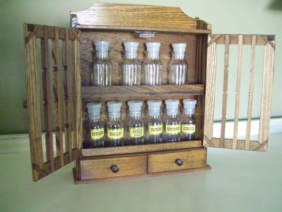 Vintage Wooden Spice Rack Unused Apothecary Cabinet With