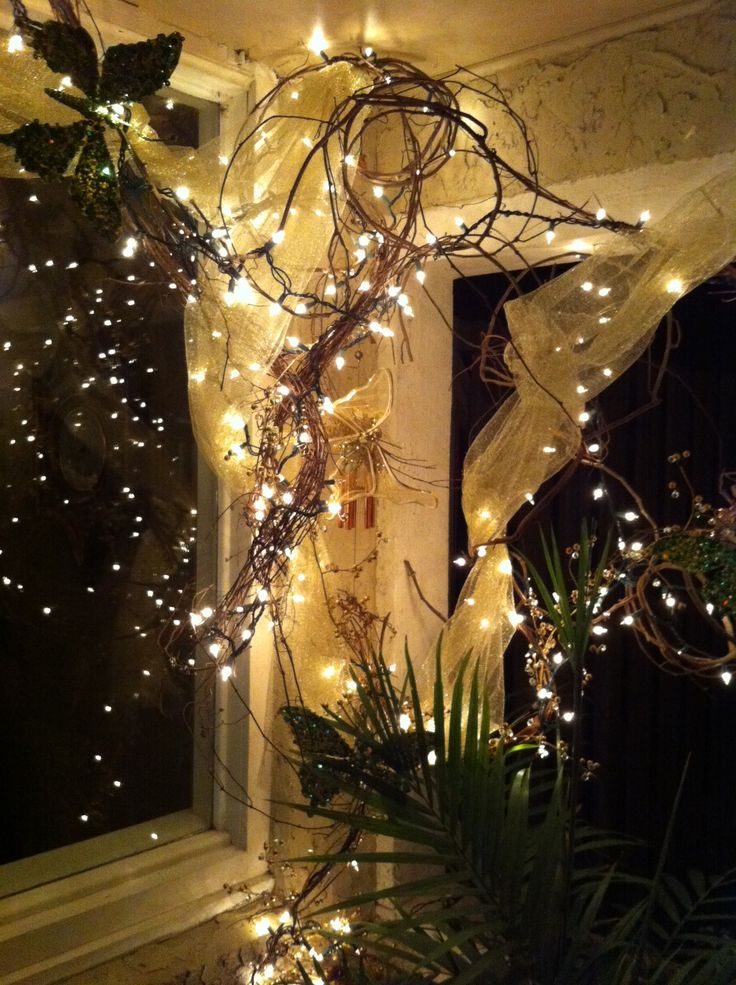 Grapevine Wrapped With White Lights And Tool Front Porch