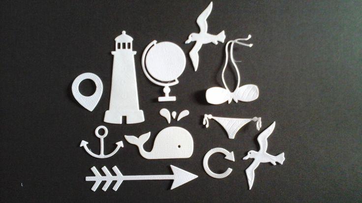 143 : scrapbooking découpe forme PHARE MOUETTE MAILLOT DE BAIN BALEINE FLECHE GÉOTAG GLOBE ANCRE : Embellissements par ma-papeterie