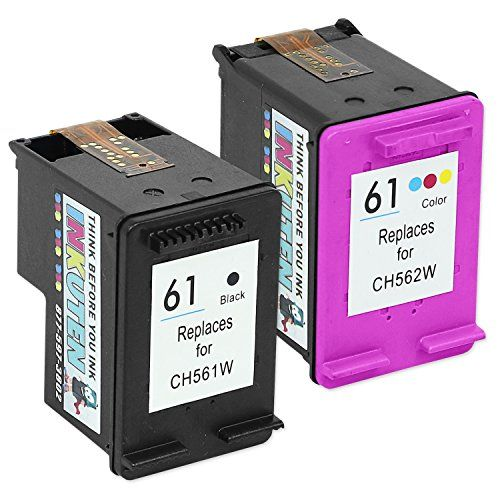 INKUTEN (TM) Remanufactured Ink Cartridge Replacement For Hewlett Packard HP 61 CR259FN CH561WN CH562WN (1 Black, 1 Tri-Color) 2-Pack #INKUTEN #(TM) #Remanufactured #Cartridge #Replacement #Hewlett #Packard #CRFN #CHWN #Black, #Color) #Pack