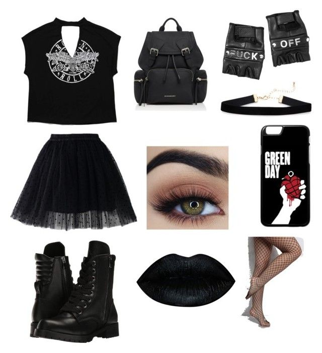 Black by olahtory on Polyvore featuring polyvore, fashion, style, Chicwish, Rare London, Capezio, Burberry, Funk Plus and clothing