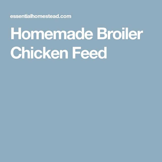 Homemade Broiler Chicken Feed