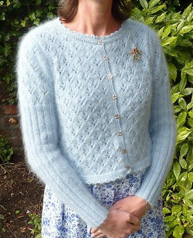 Free knitting pattern for Olivia cardigan -  Janet McMahon designed this mohair cardi with ribbed sleeves, an all over eyelet pattern and a crocheted edging. One size, so you'll have to adapt for other sizes.