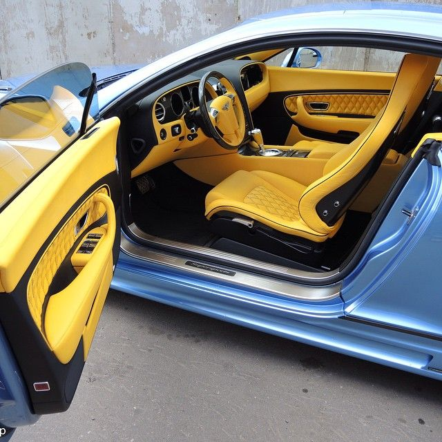 78 Best Ideas About Bentley Cost On Pinterest: Bentley Continental GT Blue With Yellow And Black Interior
