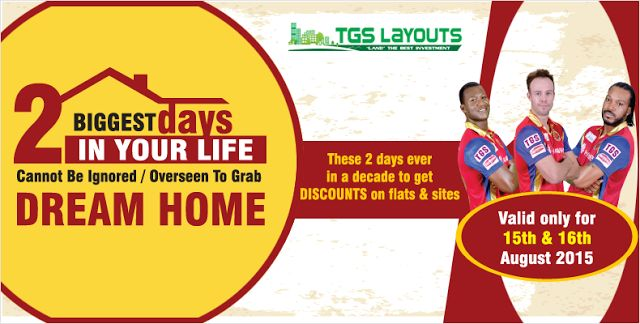 On the occasion of Indipendece TGS has offered two days mega sales for #plots and #layouts all around #Bangalore. Plots in every layouts are discounted irrespective of its status whether it is pre launch or under construction