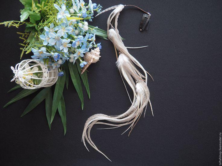 Облачный атлас - бежевые перья для волос на съемной заколке - полосатый, перо, перья