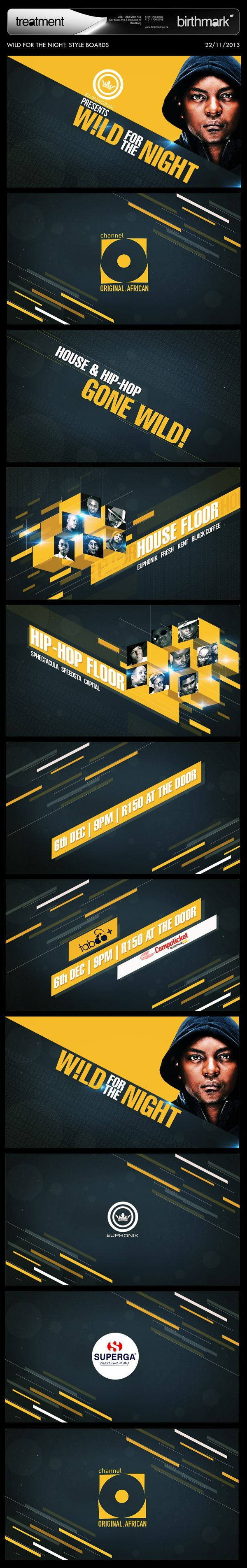Styleframes and story boards for motion graphic design and branding WILD FOR THE NIGHT by Jossi Afargan, via Behance
