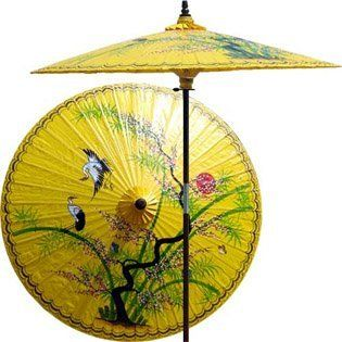 "Asian Splendor 7 Foot Patio Umbrella With Base -Daisy Yellow by Oriental Decor. $249.95. Masterfully handcrafted and hand-painted with beautiful Asian and floral-themed designs.. All patio umbrellas ship with 4-day UPS air.. The hand-painted umbrella shade is oil-treated for a glossy, water-repellant finish.. 1 1/2"" 2-piece pole fits securely into any standard patio umbrella base or patio table.. Durable frame made from stained oak hardwood.. A lone juniper tree proudly stan..."