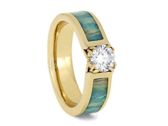 Anillo de compromiso solitario diamante ópalo sintético