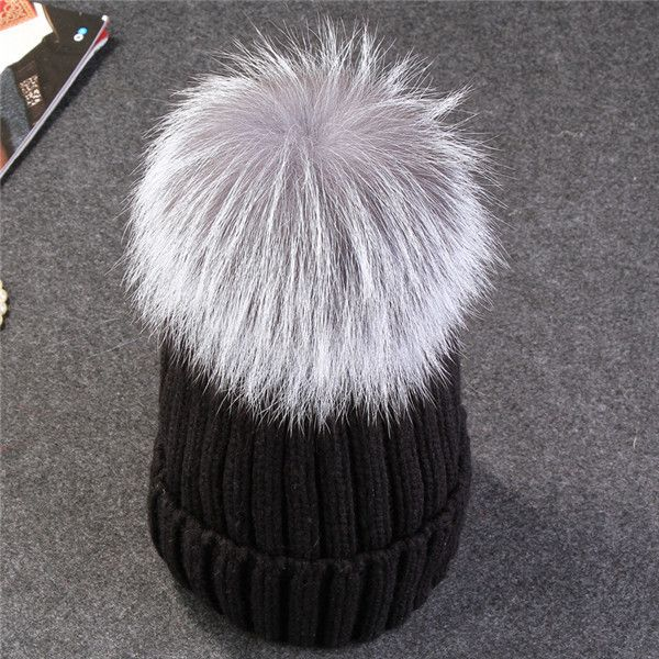 Xthree 15cm big real fox fur pom poms and knitted beanies winter hat for women girl 's Skullies hat