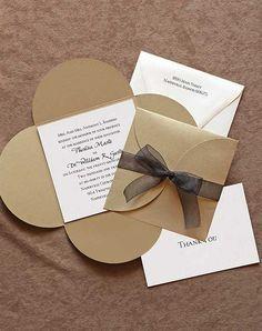 Invitations, grey shell, fuchsia insert, with black text and ribbon. <3