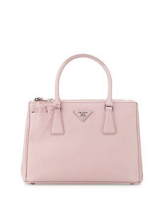 Saffiano Lux Double-Zip Tote Bag, Light Pink (Mughetto) by Prada at Neiman Marcus.