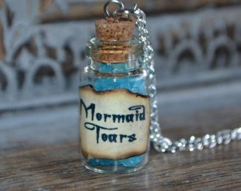 Handmade Mermaid Tears small Potion Bottle Necklace