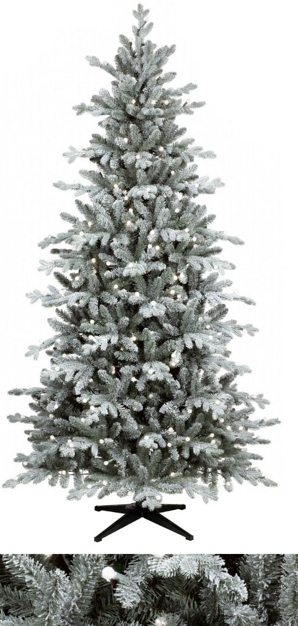 7ft Prelit Artificial Christmas Tree Flocked Balsam Fir Warm White